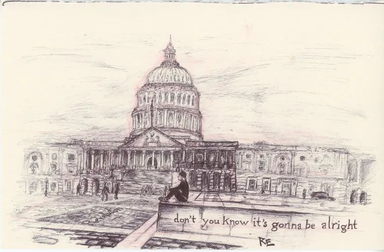 Reality Winner's sketch art, from prison, of the Augusta federal courthouse