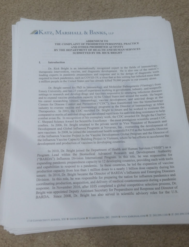 Dr Rick Bright's whistleblower complaint to the US Office of Special Counsel printed out and stacked on my carpet