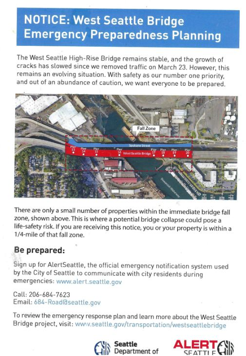 Image is a May 2020 notice from the Seattle Department of Transportation to those in properties within the immediate bridge fall zone, saying a potential bridge collapse could pose a life-safety risk. It has a bird's eye view of homes near the West Seattle Bridge and the low Spokane bridge, surrounded by bureaucratic text from the Seattle transportation department, phone numbers to learn more, etc.