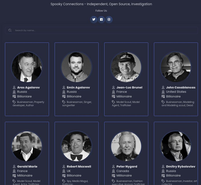 This is a screenshot of the front page of SpookyConnections.com. It shows the faces of eight millionaires or billionaires, along with their names, nationalities, income level, and occupations.