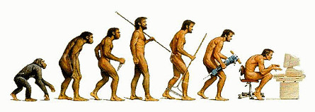A well-known image which shows an amusing take on human evolutio. At the left, a monkey walking with four limbs on the floor. By the time evolution reaches the midpoint, it's a man standing with a spear and good posture. By the time evolution reaches the far right of the image, the man is hunched over again like the monkey,  two limbs on the floor and two limbs on a computer keyboard.