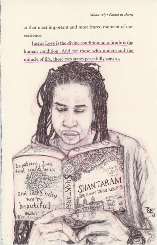 A drawing by Reality Winner of a man with locks reading Shantaram.