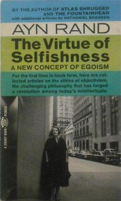 The cover of the 1964 paperback edition of The Virtue of Selfishness by Ayn Rand. It shows her standing on a New York City street.