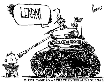"The image shows a tank pointing its gun barrel at a child sitting in a school desk. A soldier's head is poking out the top of the tank's hatch, and the soldier is yelling: ""Learn!"" The tank has a U.S. flag."