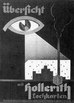 The image is a black-and-white poster showing an open eye looking upon a city. German words are written on the poster, translated in my caption.