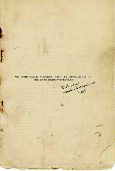 The image shows the yellowed first page of Turing's Computable Numbers paper, with a handwritten addition mentioning that some corrections have been made