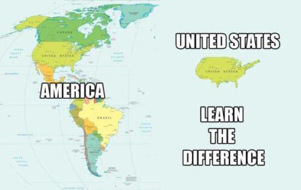 The image is of a western hemisphere map. On the left is North, Central, and South America. The caption labels all these as America. On the right is just the United States by itself. The caption says: United States, learn the difference.