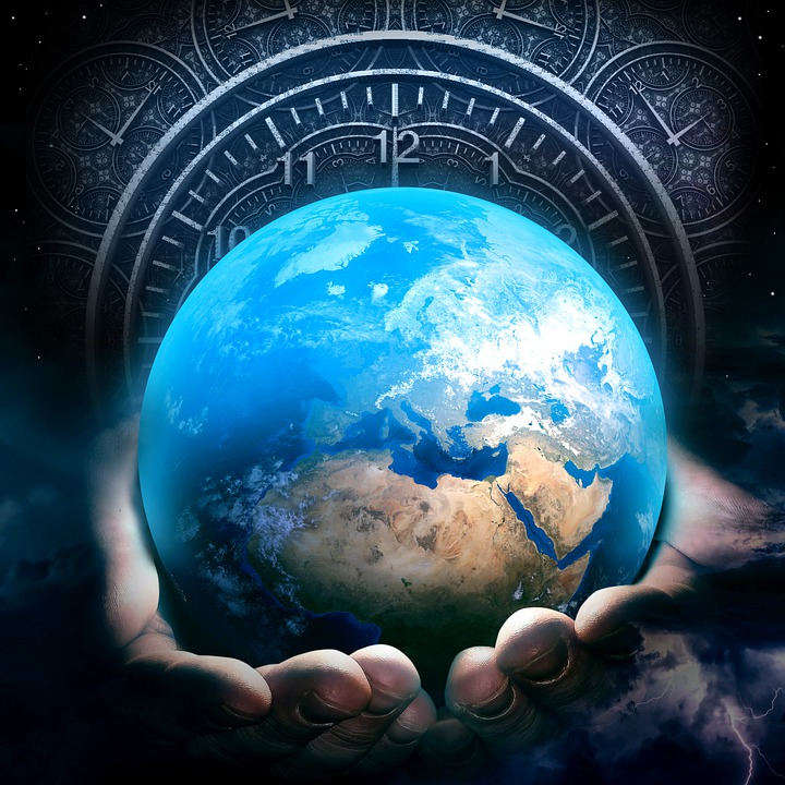 The artwork, in the fantasy surreal genre, shows hands holding the planet Earth in front of the face of an old-fashioned analog clock.