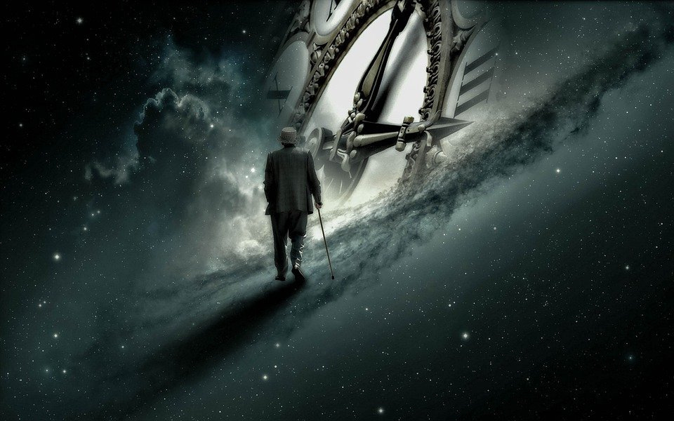 The artwork, in the fantasy surreal genre, mostly shows outer space. In the center is the face of an old-fashioned analog clock. An old man wearing a suit and using a cane is walking through outer space toward the clock.