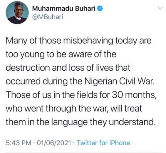 The image is a screenshot of a June 1 tweet from the Nigerian president. It reads as described in the blog post.