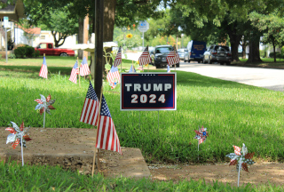 The color photo shows a grassy residental lawn with a Trump 2024 sign and US flags.