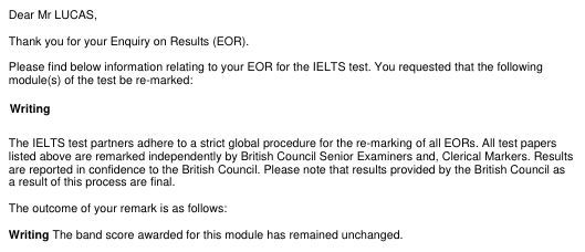 Screenshot of relevant portion of letter from the IELTS people saying their re-marking of my writing test results in no change of score.